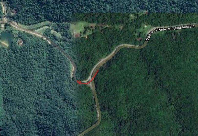 Geolocalização da entrada para a Cachoeira do Chá via Rodovia Tenente Celestino