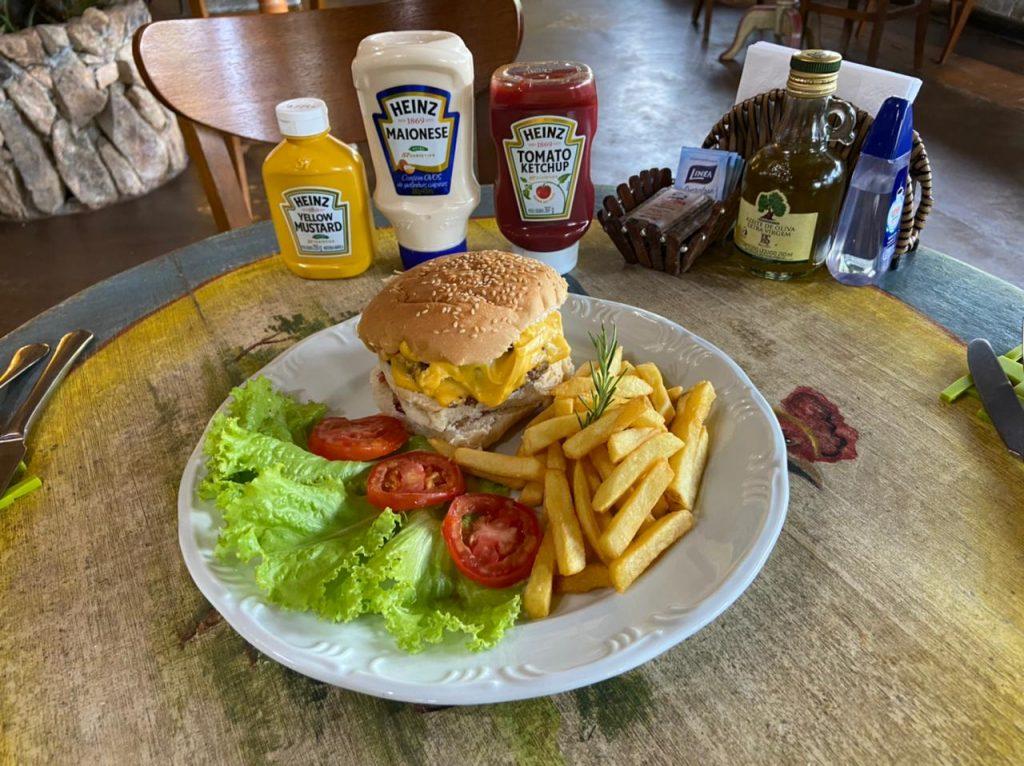 Burger com fritas   Gastronomia